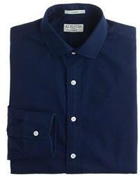 J.Crew Albiate 1830 For Ludlow Spread Collar Shirt In Indigo Italian Cotton