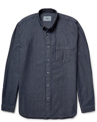 Folk Button Down Collar Cotton Chambray Shirt