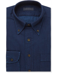 Thom Sweeney Indigo Slim Fit Button Down Collar Cotton Chambray Shirt