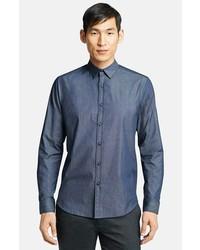 Theory Zack Bryer Chambray Stretch Cotton Sport Shirt Indigo Large