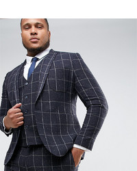 ASOS DESIGN Asos Plus Super Skinny Suit Jacket In Navy Check With Nep