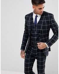 ASOS DESIGN Asos Super Skinny Suit Jacket In Navy With White Windowpane Check