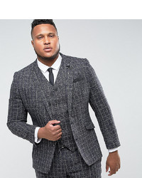 Gianni Feraud Plus Skinny Fit Blue Checked Suit Jacket