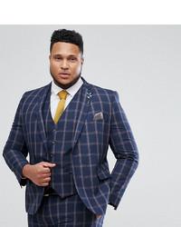 Harry Brown Plus Slim Fit Blue Check Windowpane Suit Jacket