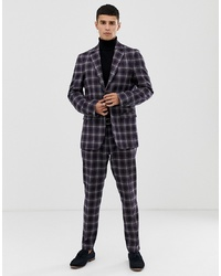 United Colors of Benetton Slim Fit Suit Jacket With Stretch In Navy Check Print