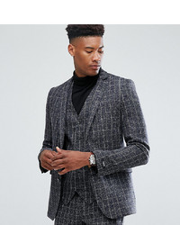 Gianni Feraud Tall Skinny Fit Blue Checked Suit Jacket