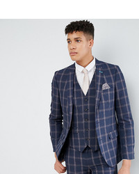 Harry Brown Tall Slim Fit Blue Check Windowpane Suit Jacket