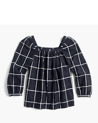 J.Crew Tall Penny Windowpane Top With Cuffed Sleeves