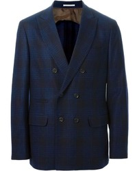 Navy Check Double Breasted Blazer