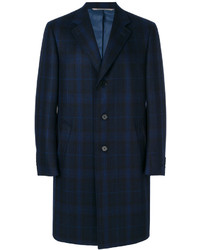 Navy Check Overcoat