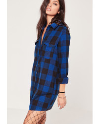 Navy Check Shirtdress