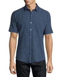 Navy Check Short Sleeve Shirt
