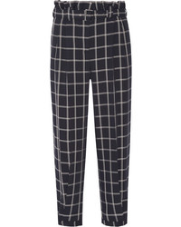 Elizabeth and James Fritz Cropped Checked Crepe Tapered Pants Navy