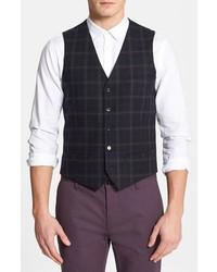 Topman Check Wool Blend Vest