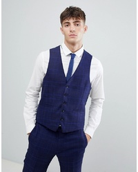MOSS BROS Moss London Skinny Waistcoat With Stretch In Flannel Check