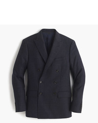 Navy Check Wool Double Breasted Blazer