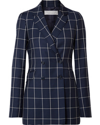 Gabriela Hearst Miles Double Breasted Checked Wool Crepe Blazer