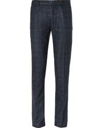 Navy Check Wool Dress Pants