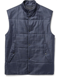 Navy Check Wool Gilet