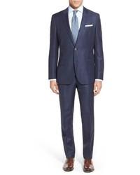 Hutsongander trim fit windowpane wool linen suit medium 603591