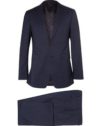 Burberry London Navy Slim Fit Checked Wool Suit