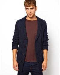 Shawl collar cardigan blue medium 10648