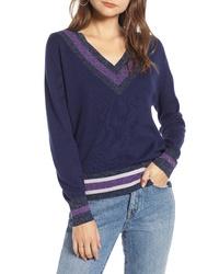 Navy Chevron V-neck Sweater