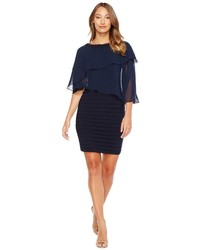 Navy Chiffon Sheath Dress