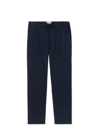 Nn07 Doico Tapered Pleated Cotton Lyocell And Linen Blend Drawstring Trousers