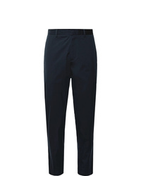 Theory Navy Curtis Tapered Cropped Stretch Cotton Blend Trousers