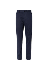 The Row Navy Hunter Slim Fit Cotton And Cashmere Blend Twill Trousers