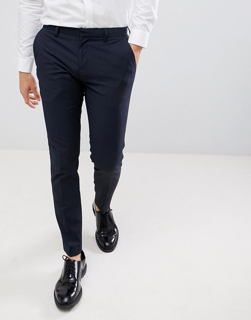 Burton Menswear Super Skinny Fit Smart Trousers In Navy