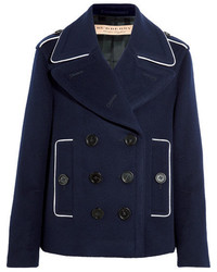 Burberry Double Breasted Wool Blend Coat Navy
