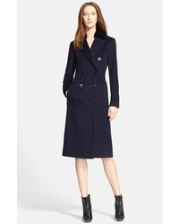 Burberry London Newford Double Breasted Cashmere Coat With Genuine Rabbit Fur Collar
