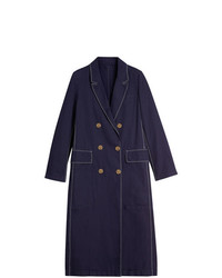 Burberry Topstitched Cotton Linen Double Breasted Coat