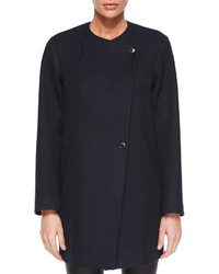 Theory Venizka Camden Asymmetric Wool Blend Twill Coat