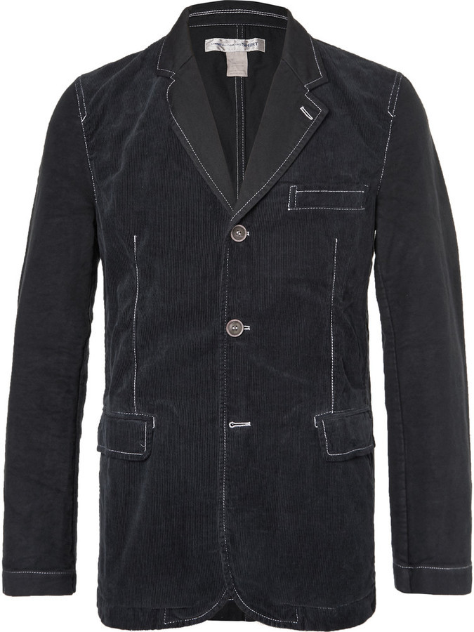 detailed look 3e95f 2e53b ... Comme des Garcons Comme Des Garons Shirt Blue Contrast Stitched Cotton  Corduroy And Twill Blazer ...
