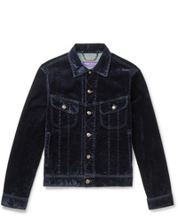 Ralph Lauren Purple Label Stretch Cotton Blend Velvet Trucker Jacket