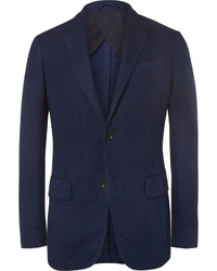 Blue slim fit woven cotton blazer medium 1160958