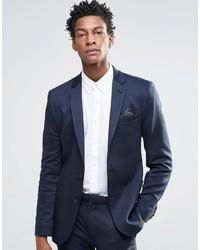 Asos Brand Super Skinny Blazer In Jersey In Navy