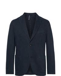 Incotex Navy Gart Dyed Cotton And Cashmere Blend Twill Blazer