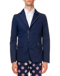 Kenzo Zip Up Cotton Blazer Navy