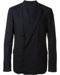 Navy Cotton Double Breasted Blazer