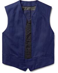 Faille trimmed slub cotton and linen blend waistcoat medium 609623