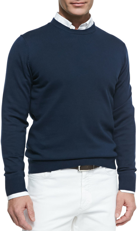 Neiman Marcus Cotton Crewneck Pullover Sweater Navy Blue | Where ...