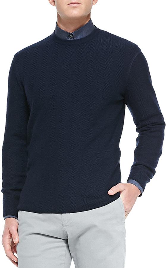 Giorgio Armani Giogio Mni Herringbone Crewneck Sweater Navy ...