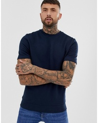 ASOS DESIGN Shortsleeve Sweatshirt In Navy