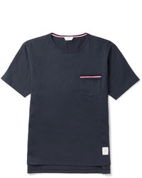 Thom Browne Slim Fit Grosgrain Trimmed Cotton Jersey T Shirt