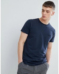 Solid T Shirt With Raw Edge Neck In Navy