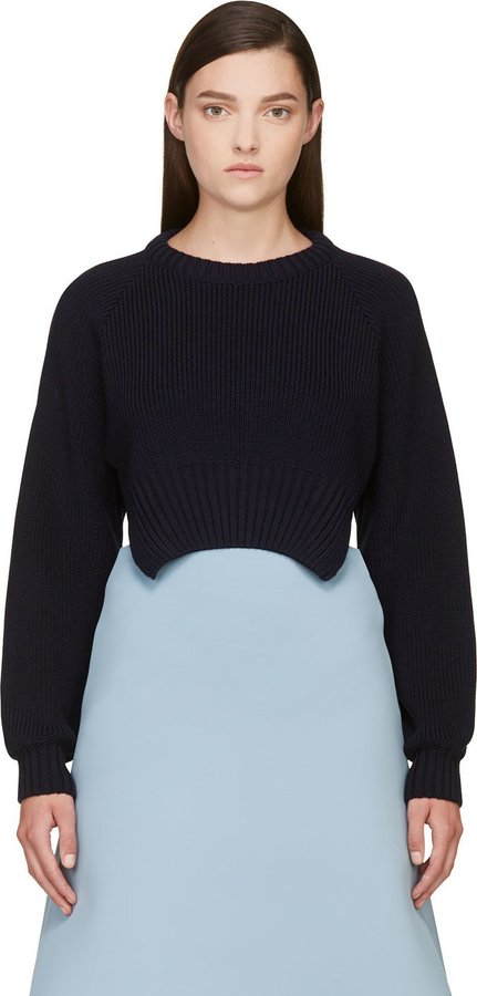 Jacquemus Navy Wool Cropped Le Pull Sweater | Where to buy & how ...